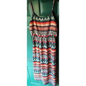 Bright Tribal Print Maxi Dress